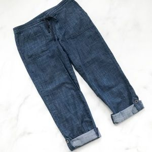 Talbots Chambray Drawstring Roll-up Pants